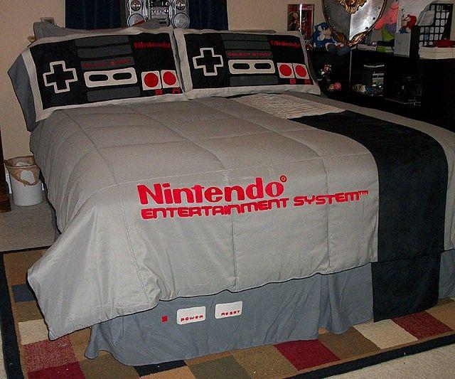 Parure de lit sp cial cadeau de geek avec trompe l 39 oeil console nintendo nes parures de lit - Trompe loeil hoofd bed ...