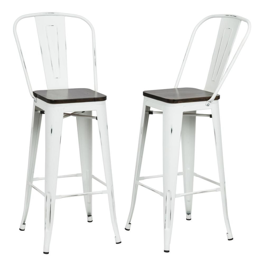 Magnificent Carolina Forge Ash 30 In Antique White Wood Seat Bar Stool Pdpeps Interior Chair Design Pdpepsorg
