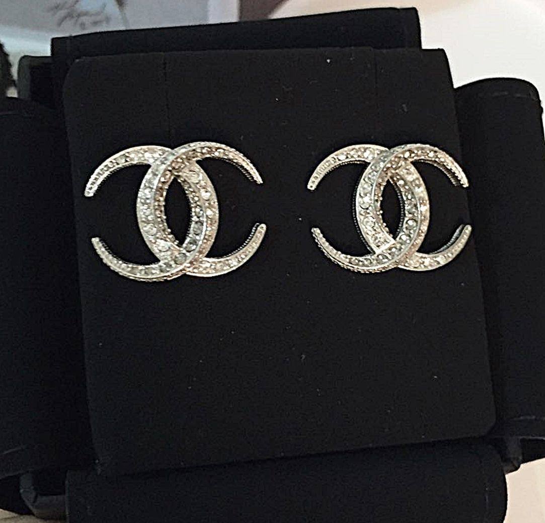 129a2dcd3 CHANEL Dubai Crescent Moon SILVER CLEAR Crystal Stud Earrings | PIN ...