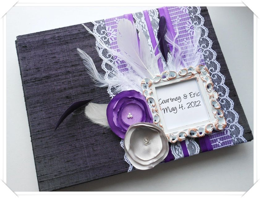 Victorian Style Wedding Guest Book Purple Gray And White  Custom