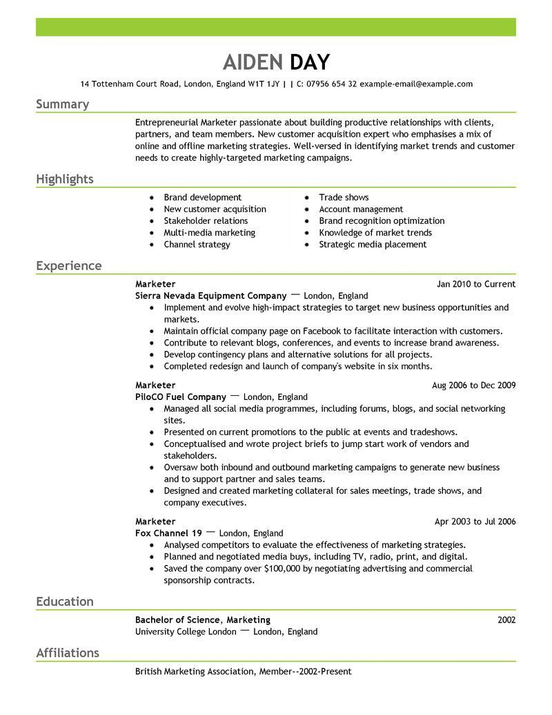 Marketing Marketing Resume Best Resume Template Resume