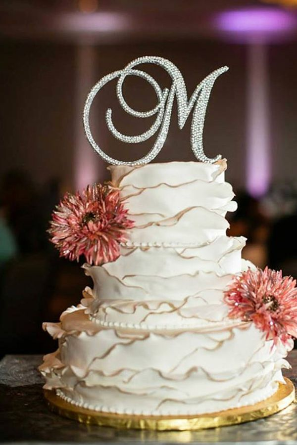 Swarovski Crystal Monogram Letter Wedding Cake Topper - Wedding ...