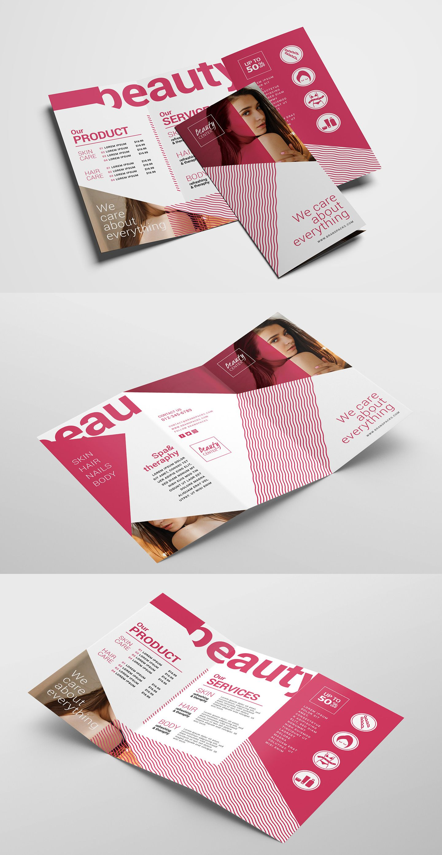 Free Trifold Brochure Template For Beauty Salons Comes In Psd Ai