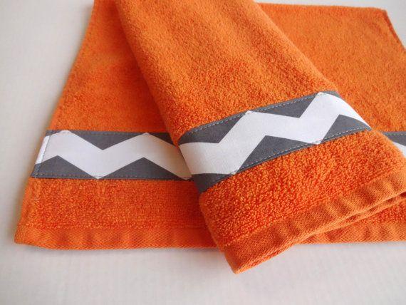 Orange Towel Set, Grey Chevron, Hand Towels, Decorated Towels, Custom  Towels,