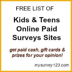 This is a list of legitimate and safe paid online surveys sites for Teens & Kids to earn extra money! mysurvey123.com/... - (scheduled via www.tailwindapp.com)