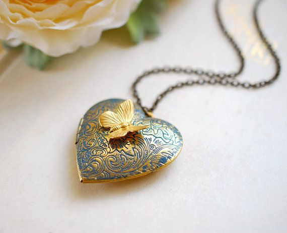 Photo of Heart Locket Necklace, Butterfly Locket, Verdigris Blue Gold Locket,  Butterfly Necklace, Personalized Gift for Mom Wife Daughter Girlfriend