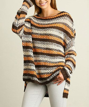 06796732d This Rust   Brown Stripe Hi-Low Sweater is perfect!  zulilyfinds ...