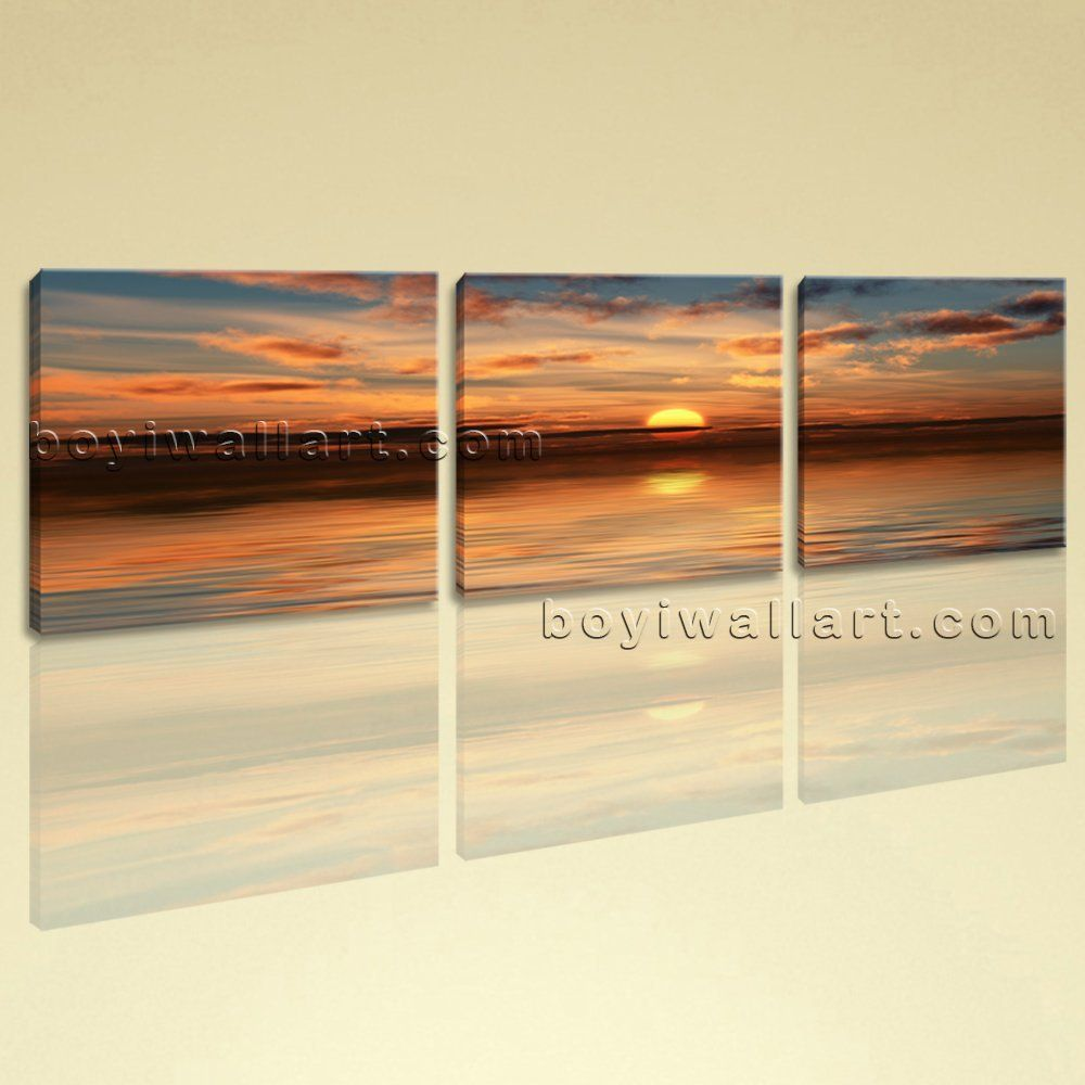 Large beach sunset landscape photography on canvas wall art home