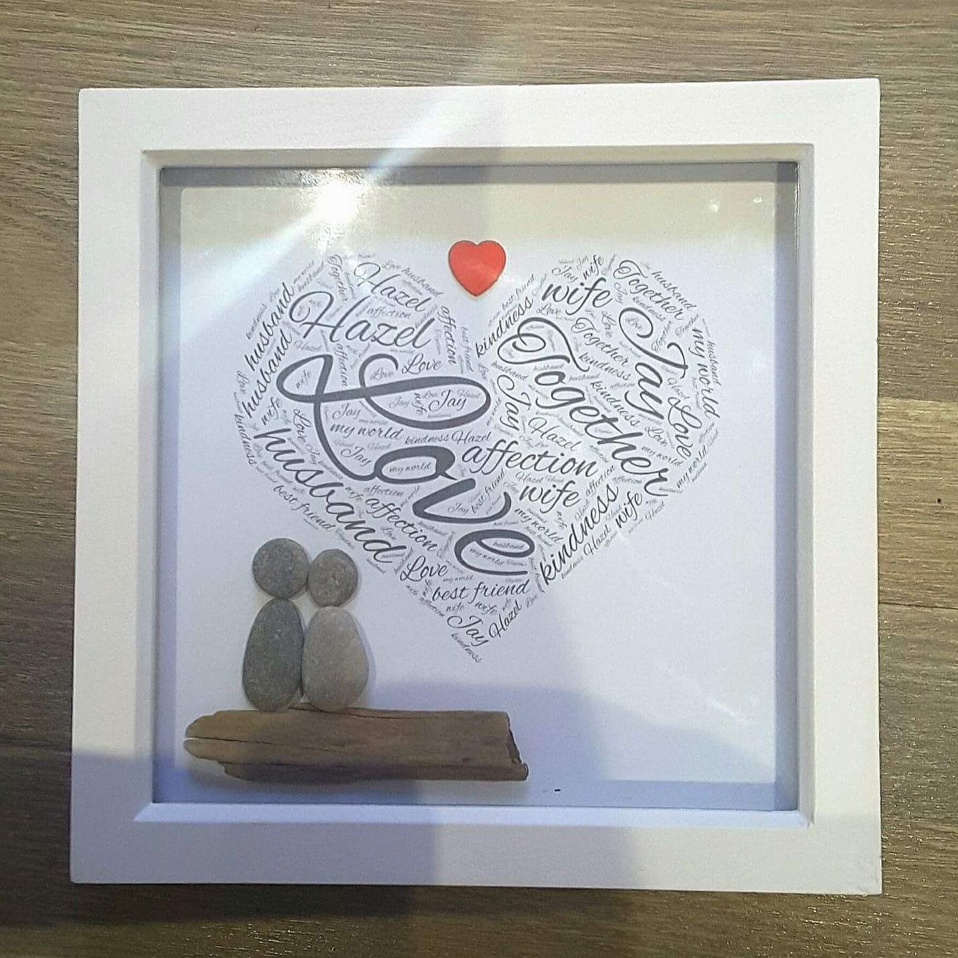 Customised Valentines Pebble Wall Art Present Gift Personalised Names Wife