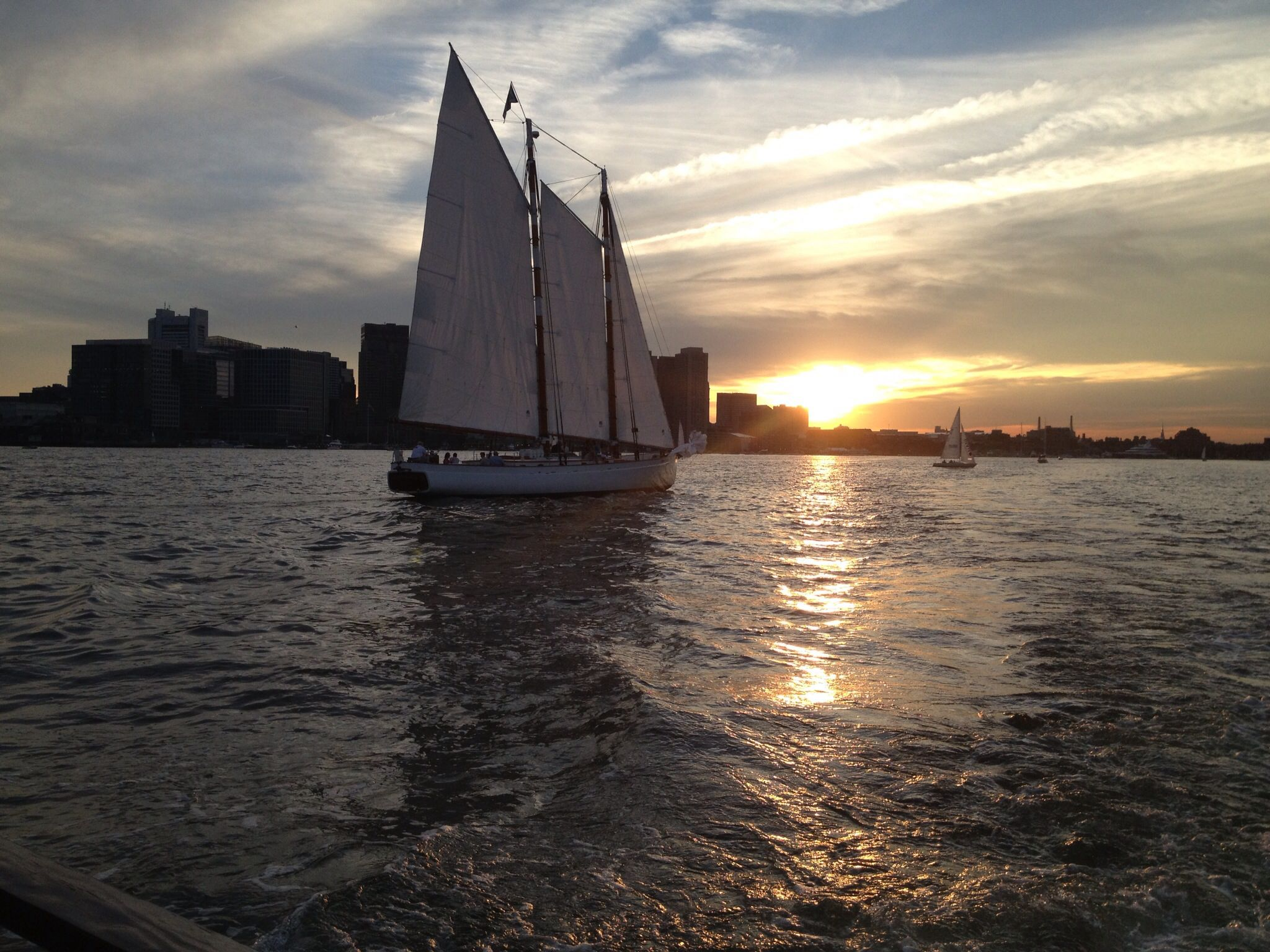 During summer evening cruise around Boston harbor.