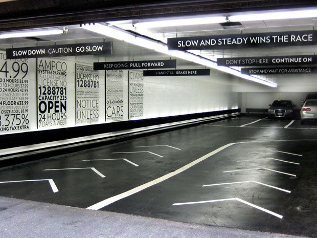 Find Typography In A Parking Garage With This Clean And Helpful Wayfinding Parking Design Wayfinding Wayfinding Signage