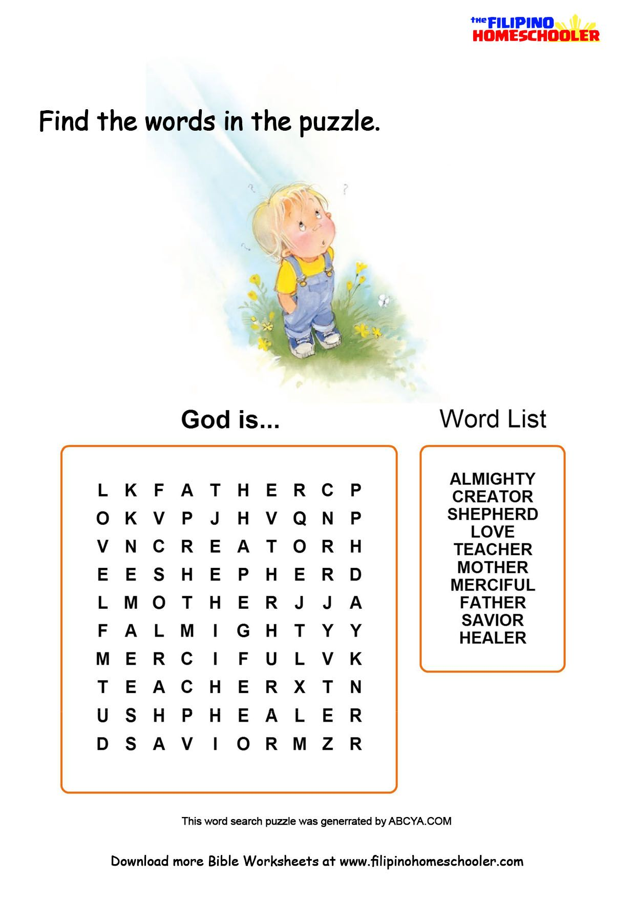 Who Is God Learning Activity
