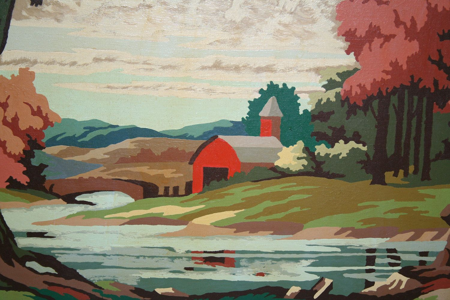 Vintage Large Paint By Number Red Barn Country Landscape Painting Painting Large Painting Paint By Number