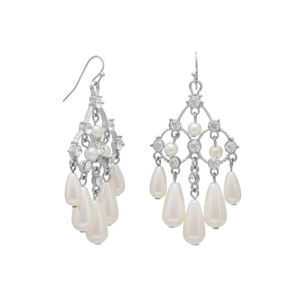 Elegant chandelier crystals and pearl tear drop earrings drop elegant chandelier crystals and pearl tear drop earrings arubaitofo Choice Image