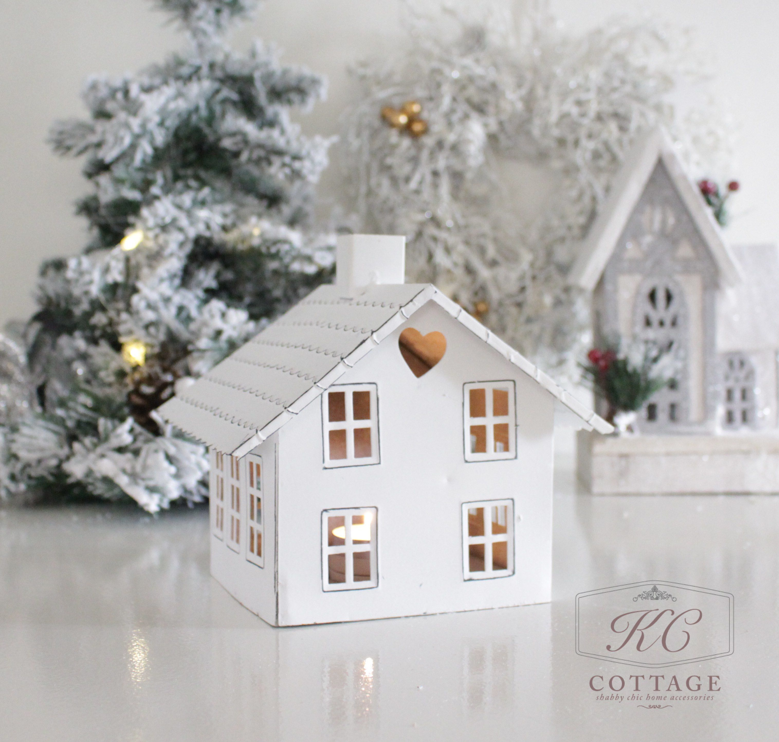 White Tealight Christmas Cottage with Chimney White Tealight Christmas Cottage with Chimney