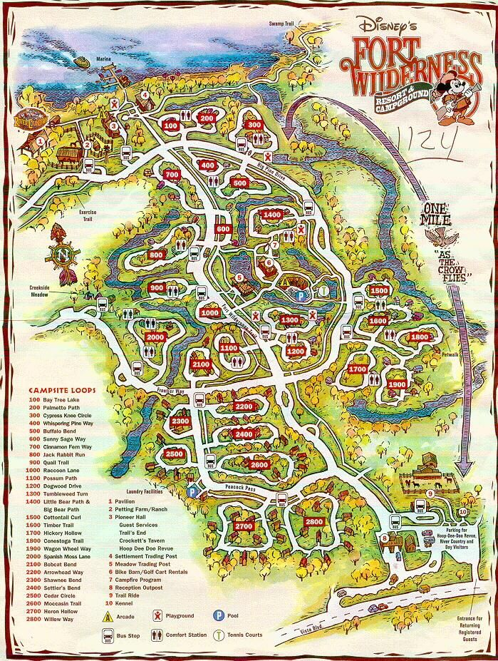 Campground map. | Fort Wilderness | Fort wilderness resort ... on