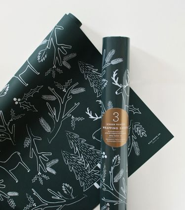 screen printed pine wrapping sheets rifle paper co