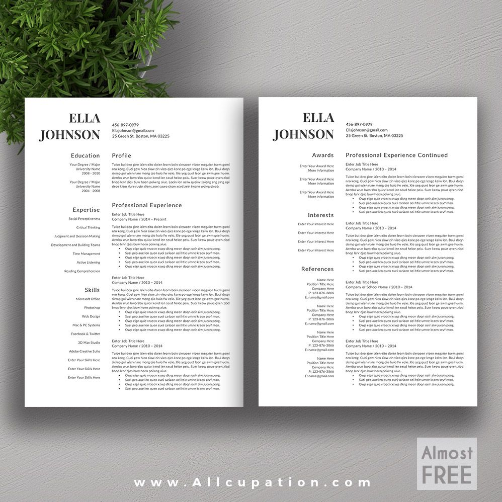 allcupation FREE or Almost FREE Professional Resume Template, CV ...