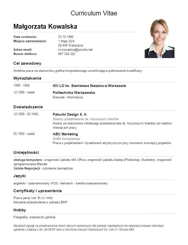 curriculum vitae wzory  Gotowe szablony i wzory CV | paweł operacz | Pinterest