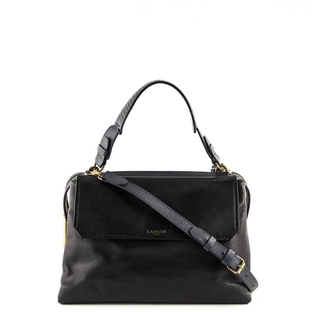 043fda42f7d7 Lanvin Black Leather Top Handle - LOVE that BAG - Preowned Authentic  Designer Handbags