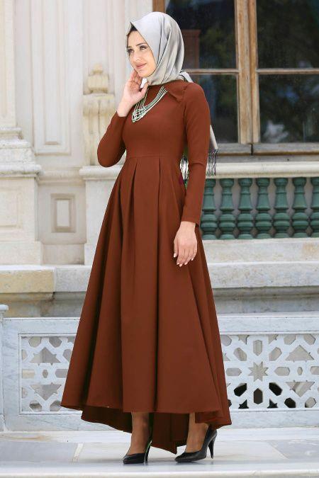 5107aa3533bcc 2018/2019 Yeni Sezon Günlük Elbise Koleksiyonu - Neva Style - Kolye Detaylı  Taba Tesettür