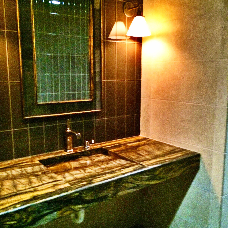 Lux Men S Room Installed At Our Santa Rosa Showroom Custom Sink Counter Manhattan Tile On The Wall Bedrosians Tileinspiration Tiletrends