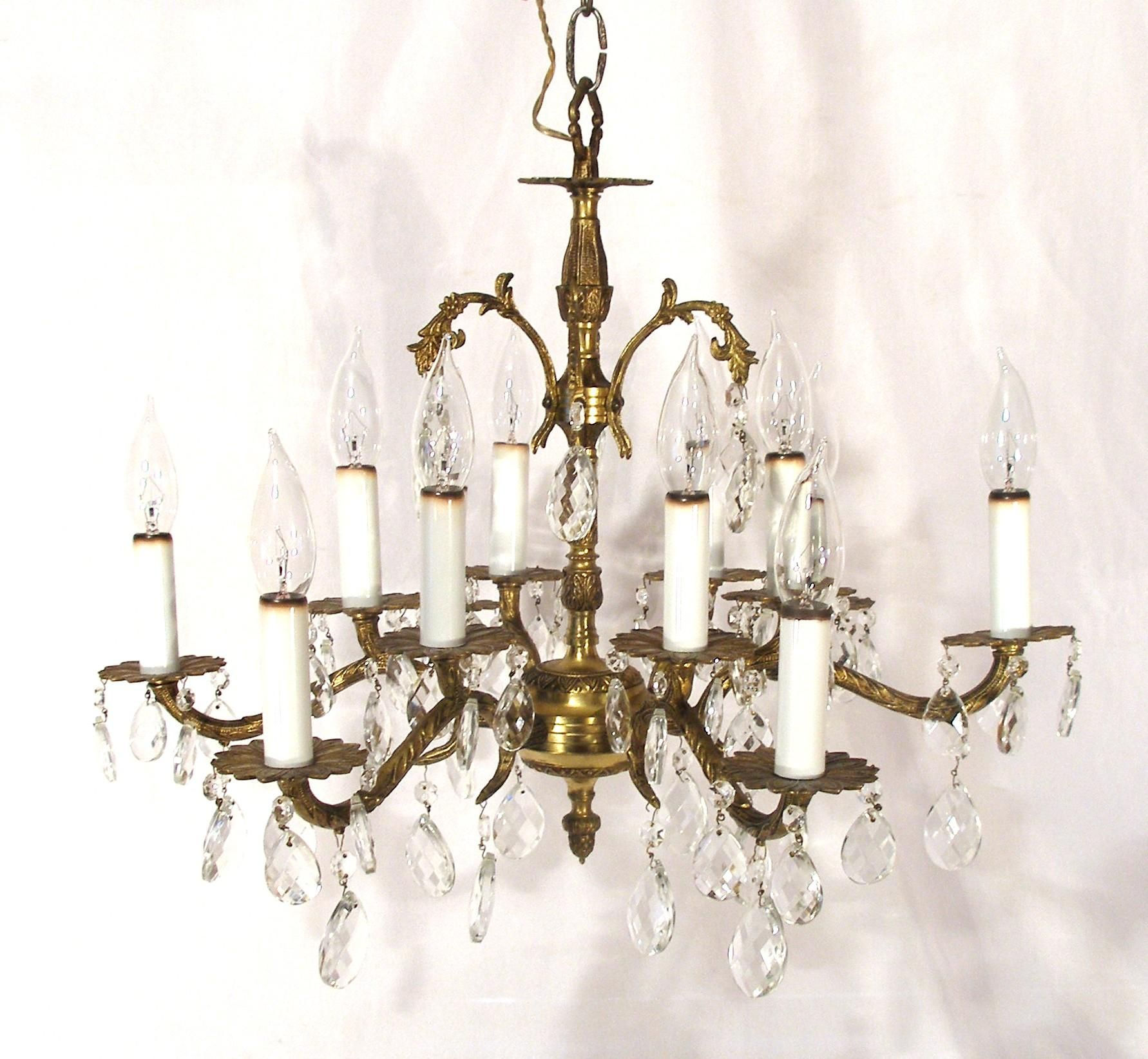 Vintage Victorian Art Nouveau Style 12 Light Brass Candelabra Crystal Chandelier Victorian Art Crystal Chandelier Art Nouveau