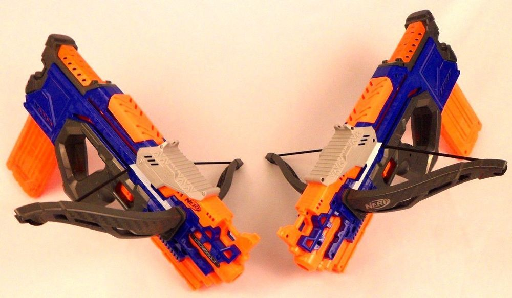 LOT OF 2 NERF N-STRIKE ELITE CROSSBOLT DART GUN BOW AND ARROW #NERF