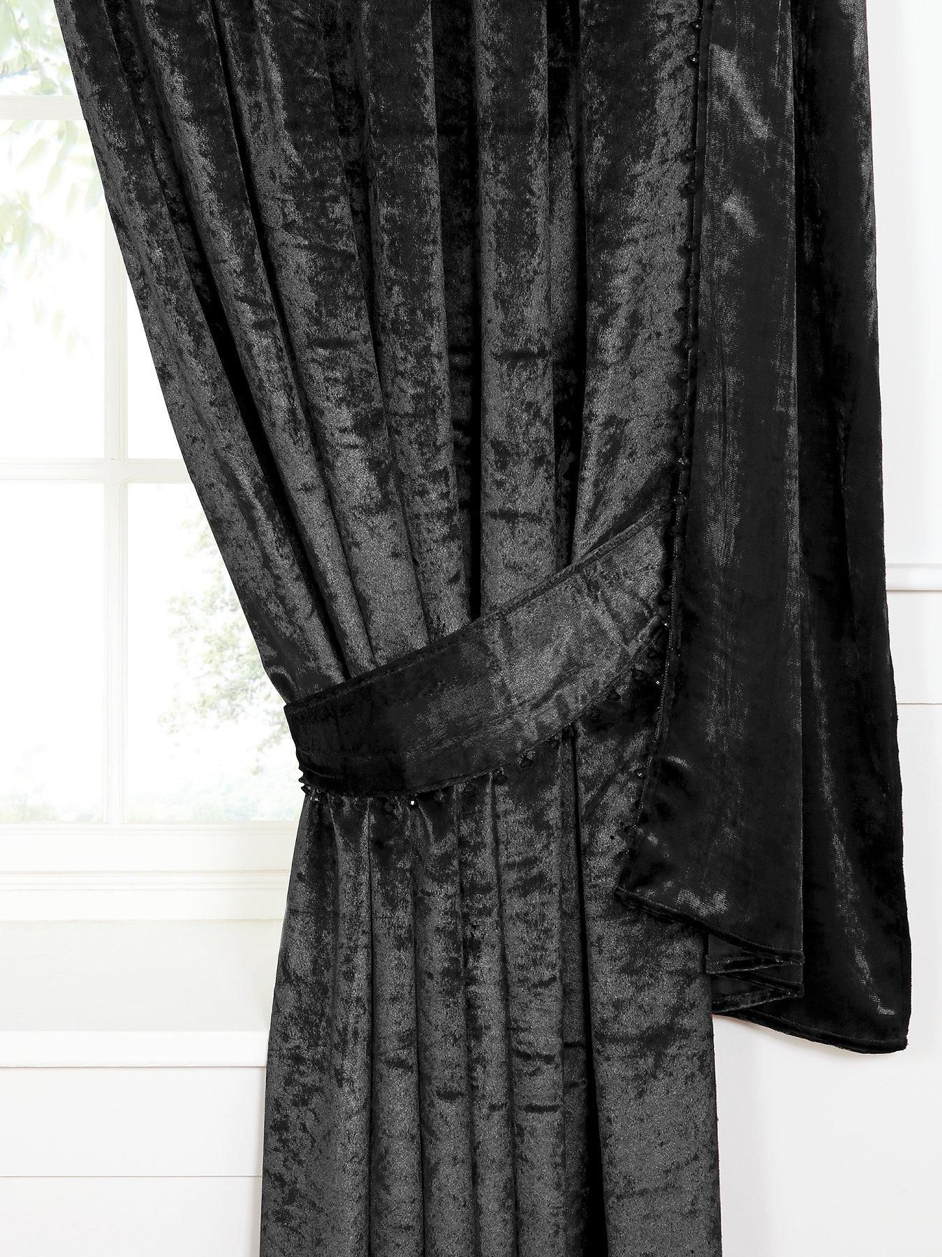 Laurence Llewellyn Bowen Venezia Black Crushed Velvet Curtains