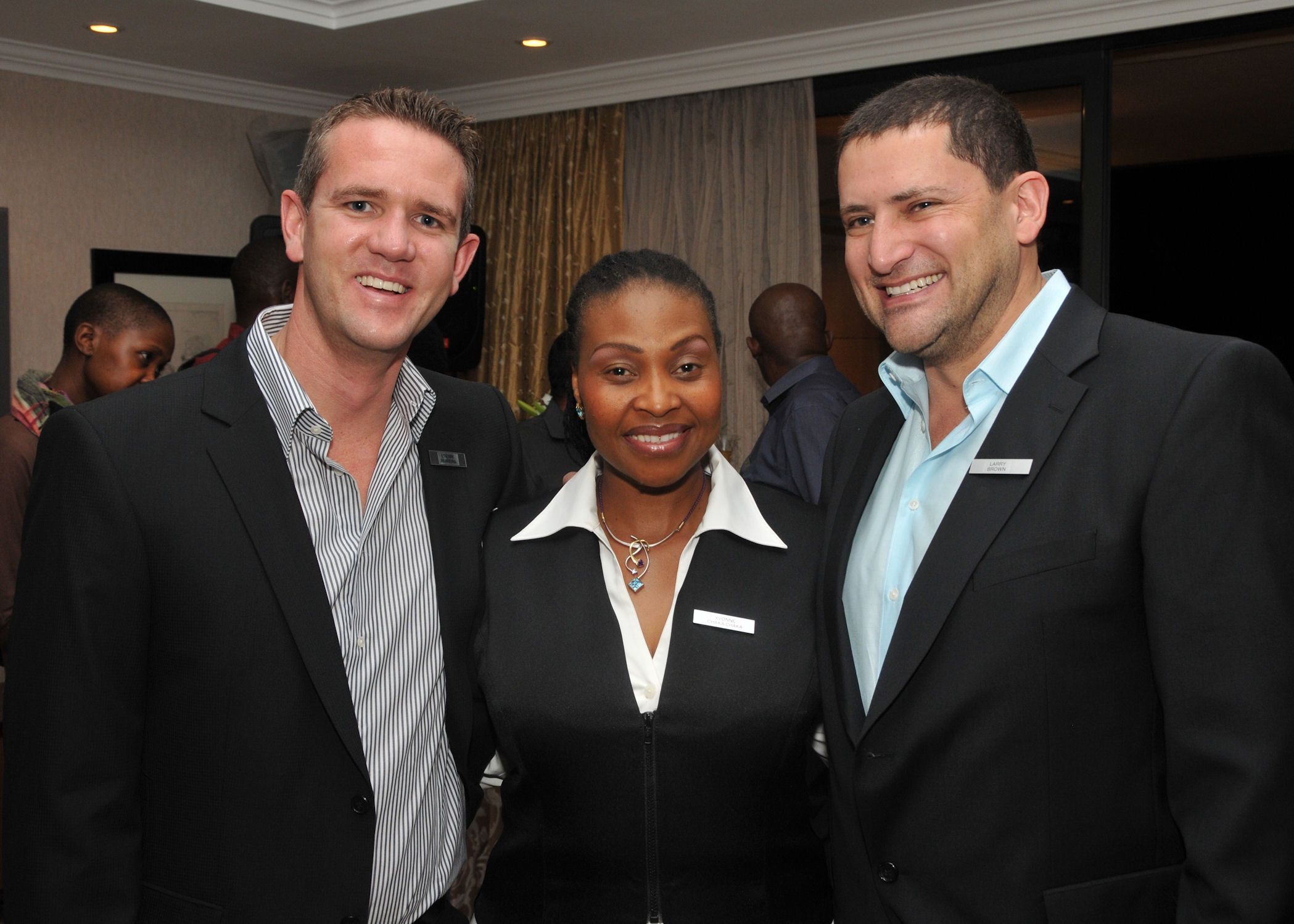 Yvonne Chaka Chaka with Larry Brown and Etienne Ferreira at the launch of the Protea Collection.