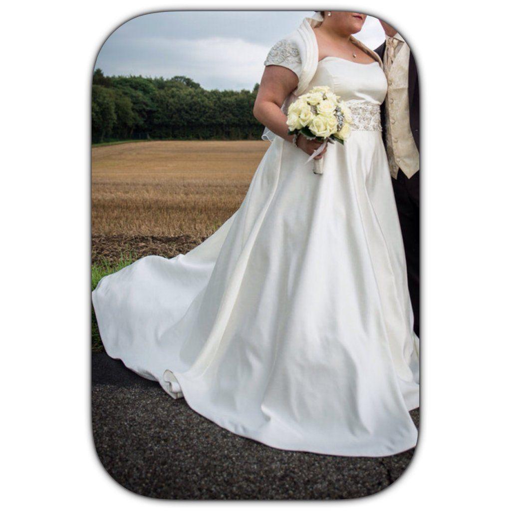 ♥ Brautkleid 52 / 54 zu verkaufen,A-Linie, lang, ivory, creme ...