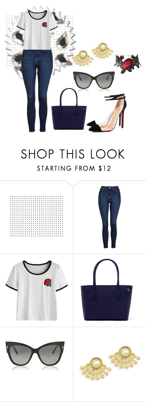 """rose"" by anaily on Polyvore featuring moda, Topshop, Christian Louboutin, Tom Ford, black, Blue, jeans e labotin"