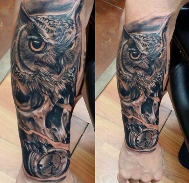 owl and clock forearm tattoo tattoo tattooed tattoos animals tattoos pinterest. Black Bedroom Furniture Sets. Home Design Ideas