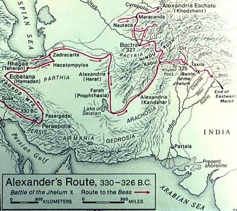 Alexander's route to India, 330-326 BCE - his final campaign ... on big south map, sun belt map, conference usa map, c-usa map, mountain west map,