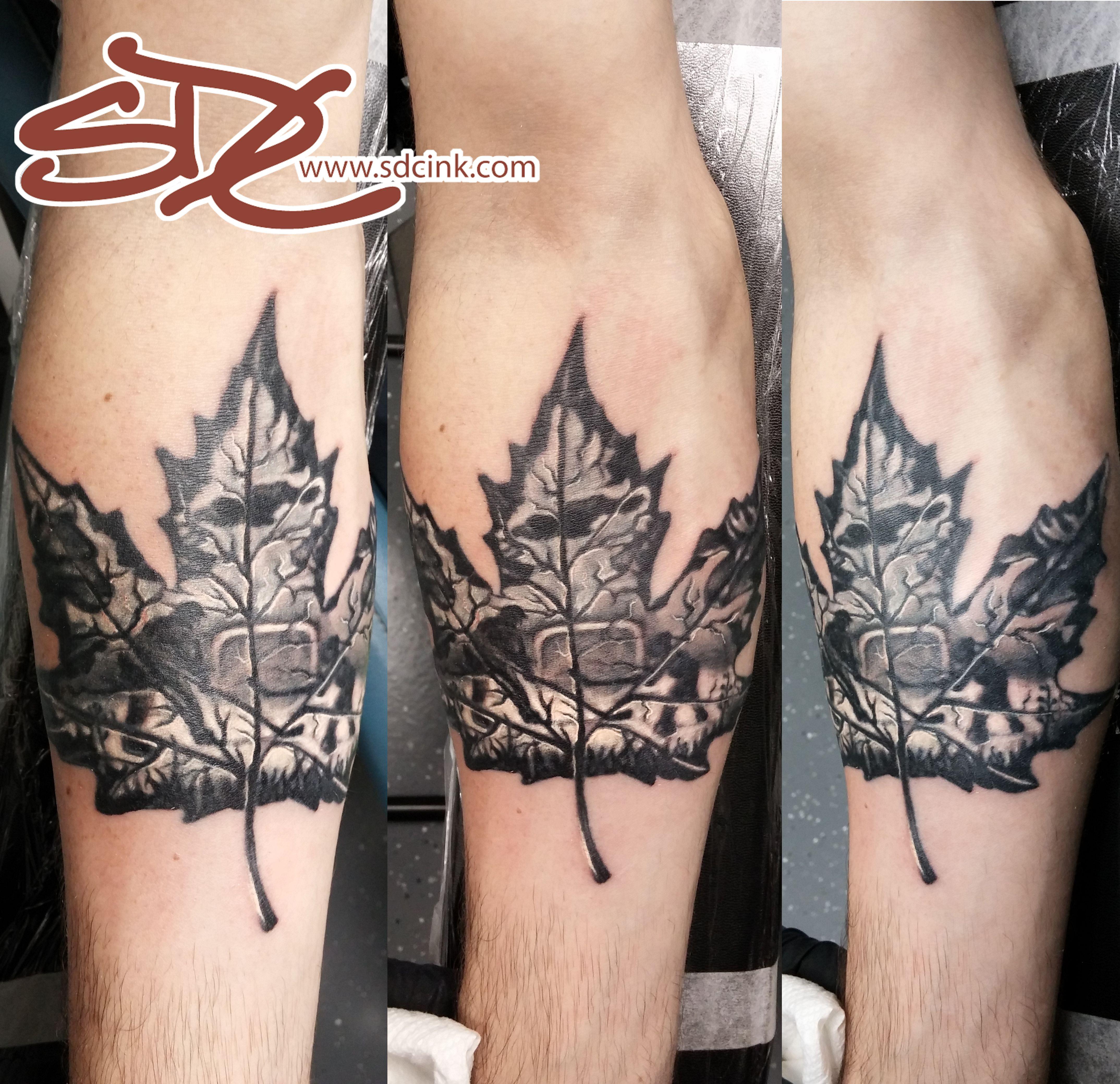Canadian Love Maple Leaf Tattoo With Hockey And Animals By Sonia Debenetti Carlisle Hockey Tattoo Tattoos Sleeve Tattoos