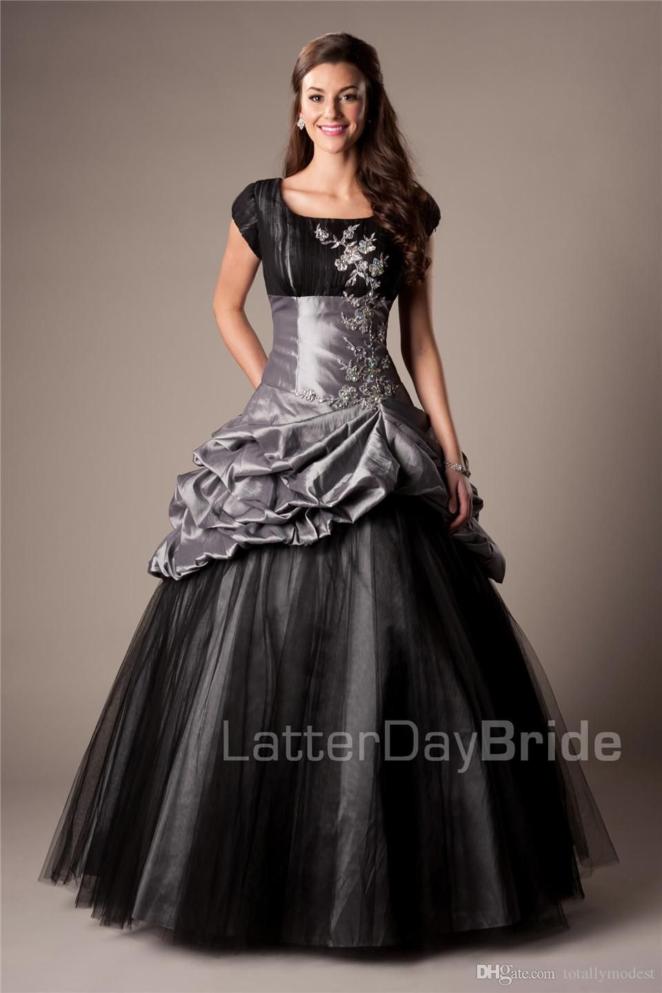 52ed5670c3a Royal Blue Black Long Ball Gown Modest Prom Dresses With Cap Sleeves  Vintage Short Sleeves Taffeta Seniors Puffy Prom Party Dresses 2016