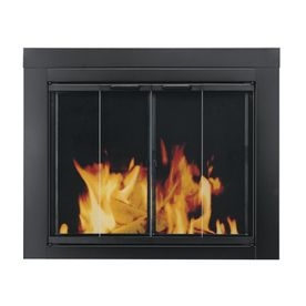 Ascot Black Small Bifold Fireplace Doors With Clear Tempered Glass