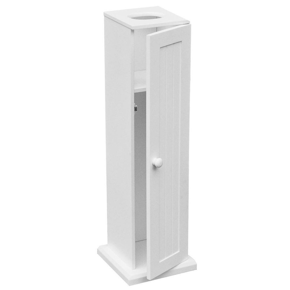 White Wooden Bathroom Toilet Paper Roll Holder Floor Standing Storage Cabinet Adding An Extra Internal Shelf For Tissues