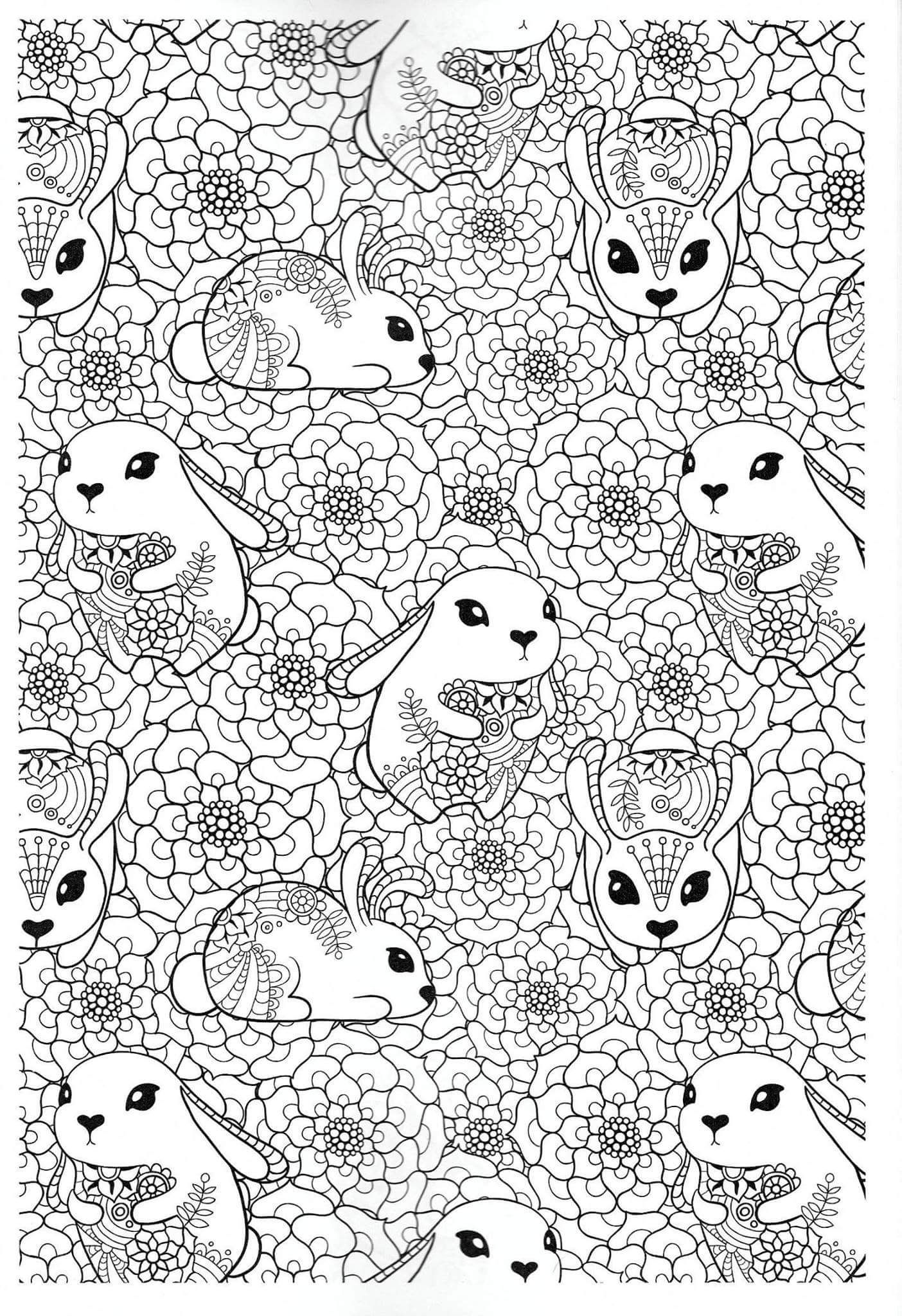 Adult rabbit colouring page | Animal coloring pages ...