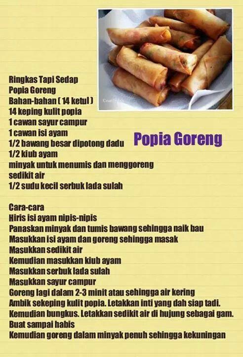 Popia Goreng Asian Cooking Asian Flavors Cooking