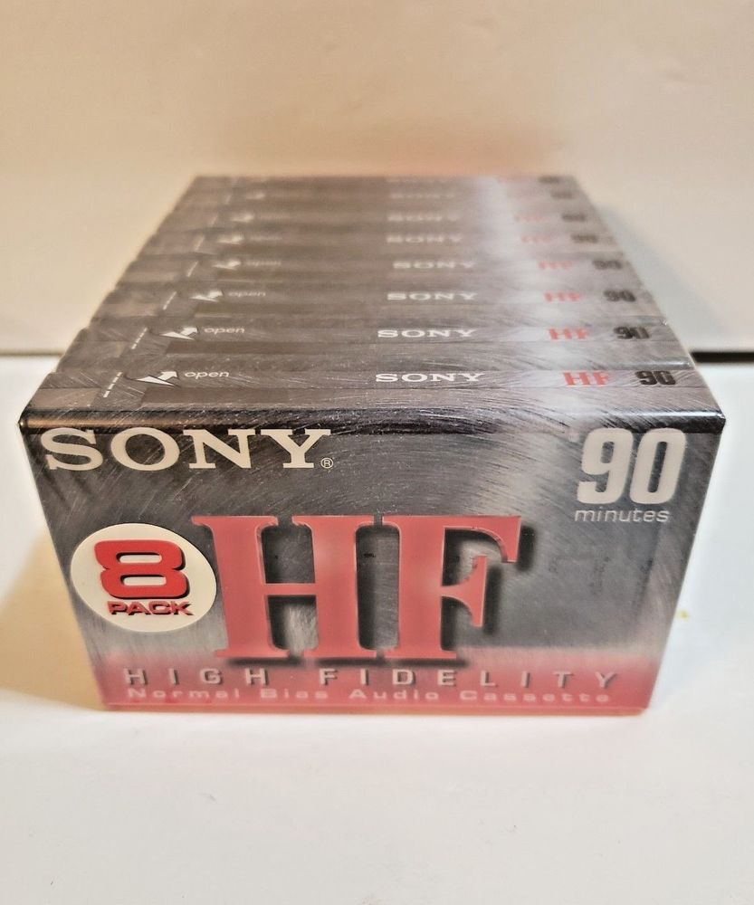 8 Sony HF Audiocassettes Tapes 90 Normal Bias Type 1 Sealed Blank