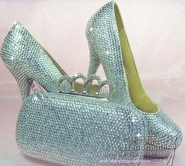 Bag Handmade Custom Design Ladies High Heel Elegant Silver Diamante Wedding Shoes