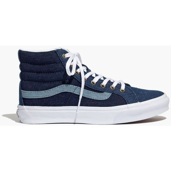 4d07891ffb2a6 Madewell x Vans® Sk8-Hi Slim High-Top Sneakers in Denim ( 70) ❤ liked on Polyvore  featuring shoes