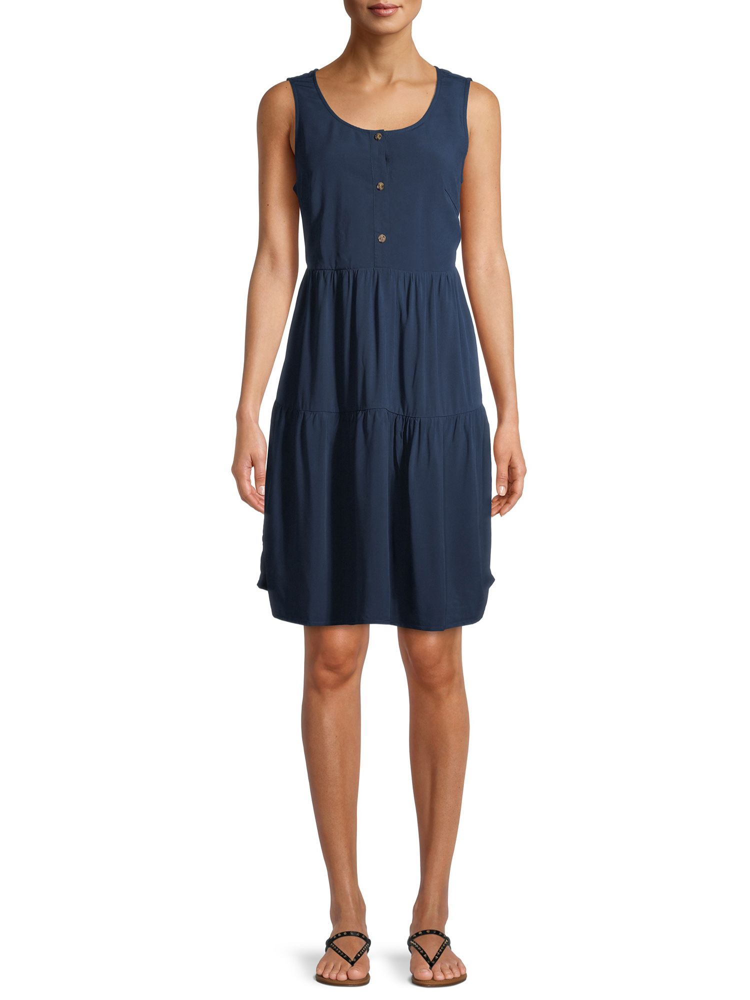 Time And Tru Time And Tru Women S Woven Tiered Buttonfront Dress Walmart Com Button Front Dress Dresses Woman Weaving [ 2000 x 1500 Pixel ]