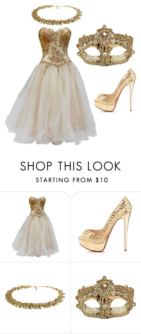 """It´s True"" by zeni-gavi ❤ liked on Polyvore featuring Vicky Tiel, Christian Louboutin and Aurélie Bidermann"