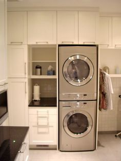 Smart Shelving Laundry Room: The Stackable Washer And Dryer Maximize  Vertical Space, Making Room For Lots Of Functional Shelves.