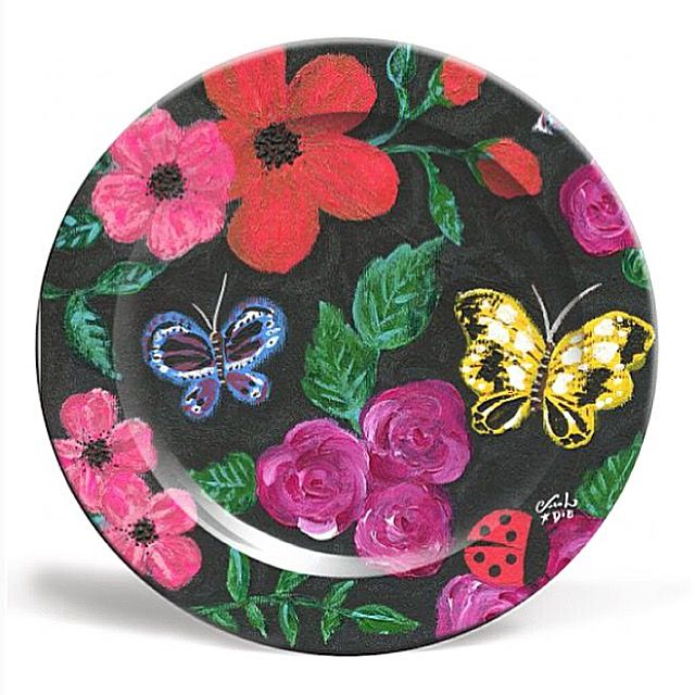 Ceramic plate made in the UK by Art Rookie featuring a design by brazilian artist and illustrator Carol Dib. Her girly style and vibrant palette give life to a charming and captivating work suitable for children of all ages! Comes in either 8'' or 10'', together the two sizes compliment each other as a starter and main plate. Extremely durable and impact resistance. Dishwasher safe. | www.caroldib.com