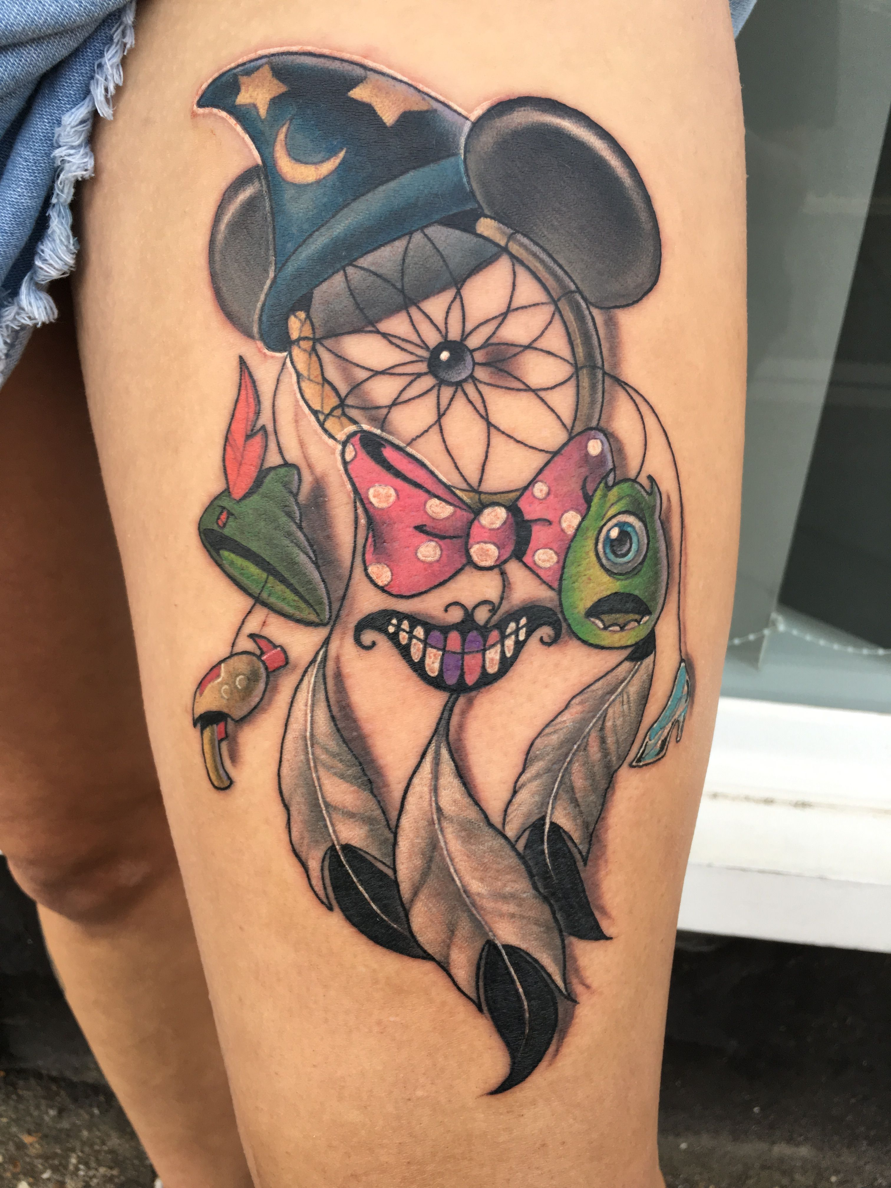 Disney Dream Catcher Tattoo : disney, dream, catcher, tattoo, Disney, Dreamcatcher, Tattoo, Mouse, Tattoos,, Sleeve, Tattoos
