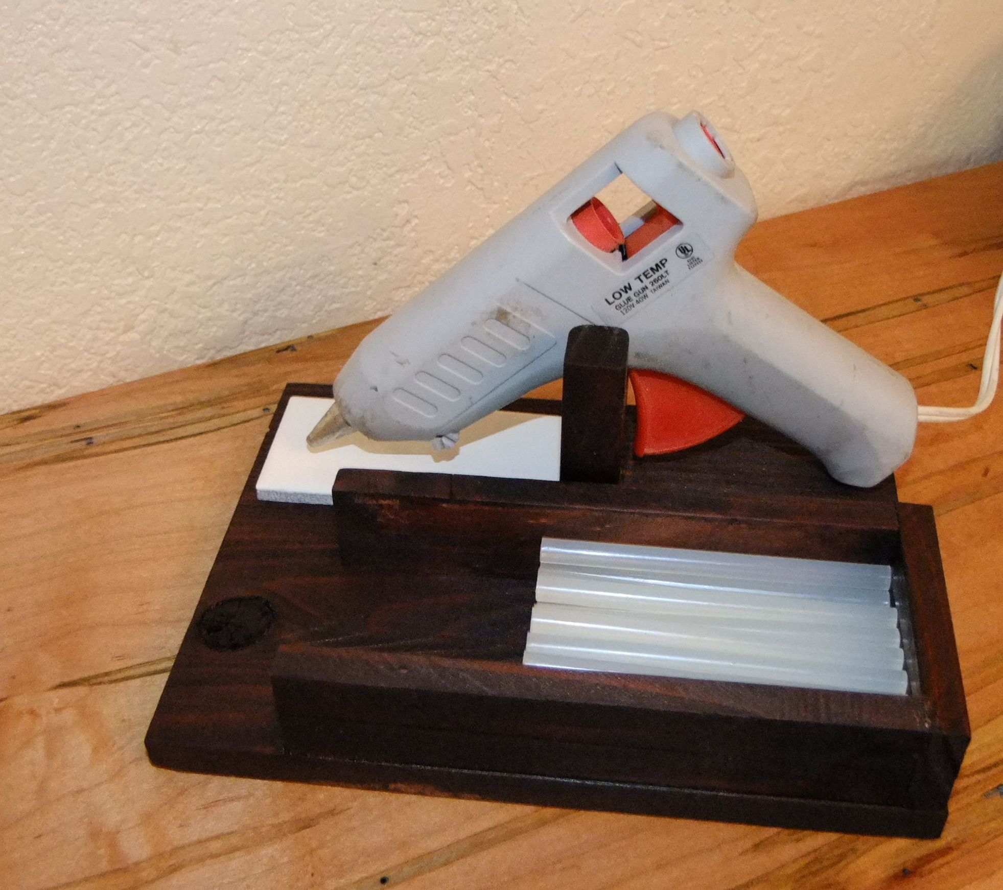 Rustic Wooden Hot Glue Gun Holder- school, crafts ...