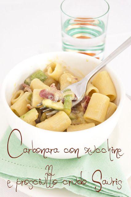 Carbonara con zucchine e prosciutto crudo Sauris